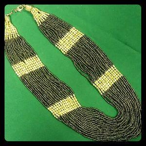 Amrita Singh Boho Gunmetal Glass Beads Bib necklac